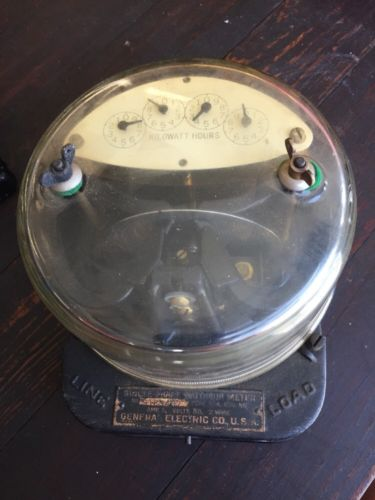 VINTAGE GENERAL ELECTRIC SINGLE-PHASE WATTHOUR METER TYPE I-14  Steam Punk (130)