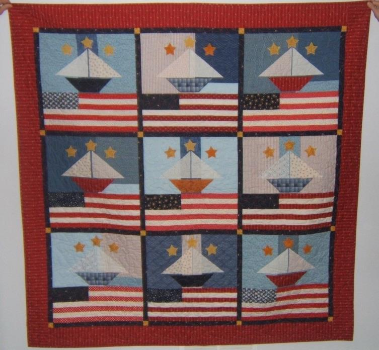 Red White & Blue Quilt HANDMADE USA Flag-Boat-Stars 64