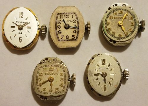 Bulova Ladies Watch Movements - Lot of 5 Parts/Repairs