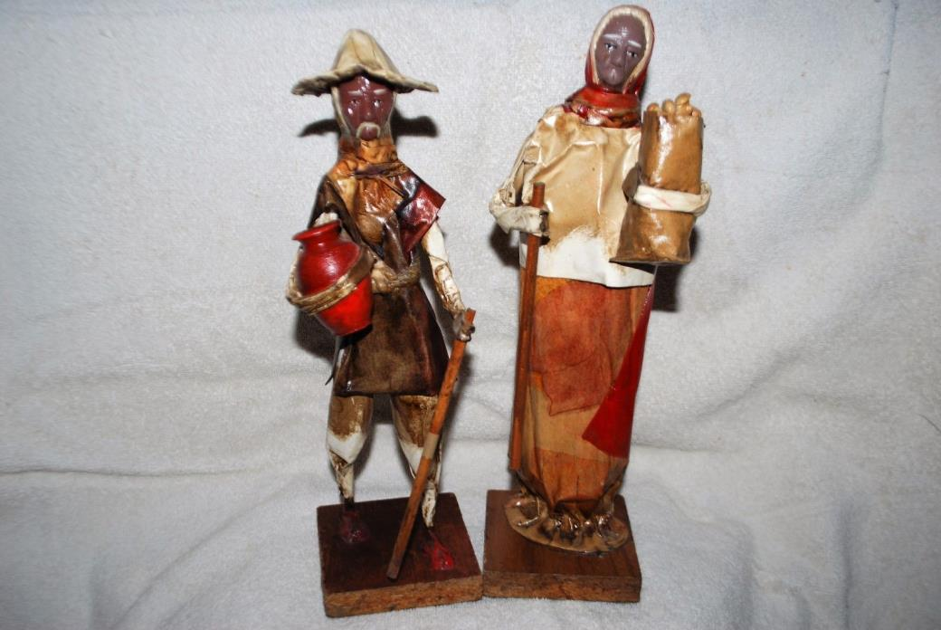Lot 2 Vintage HandCrafted Paper Mache Mexican Peasant Statues Folk Art Figurines