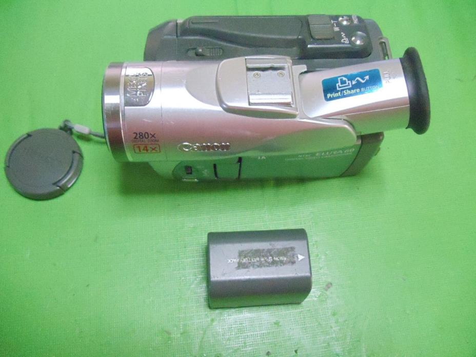 Canon Elura 60 Digital Mini DV Camcorder - Works with LCD issues - w/ Battery @