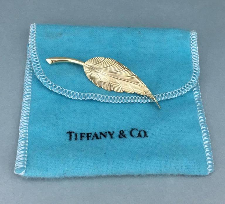 Stunning Tiffany & Co. 14k Yellow Gold Leaf Pin Brooch!