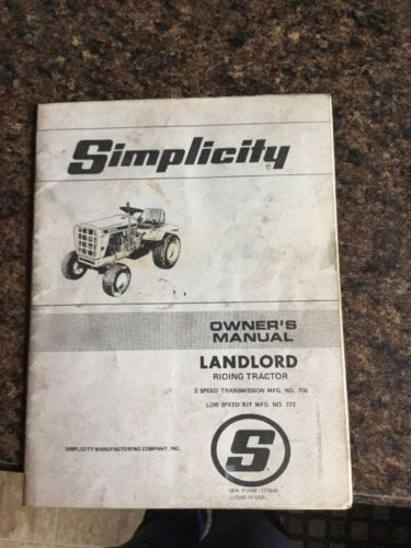 Simplicity LANDLORD Riding Garden Tractor OEM owner's Manual