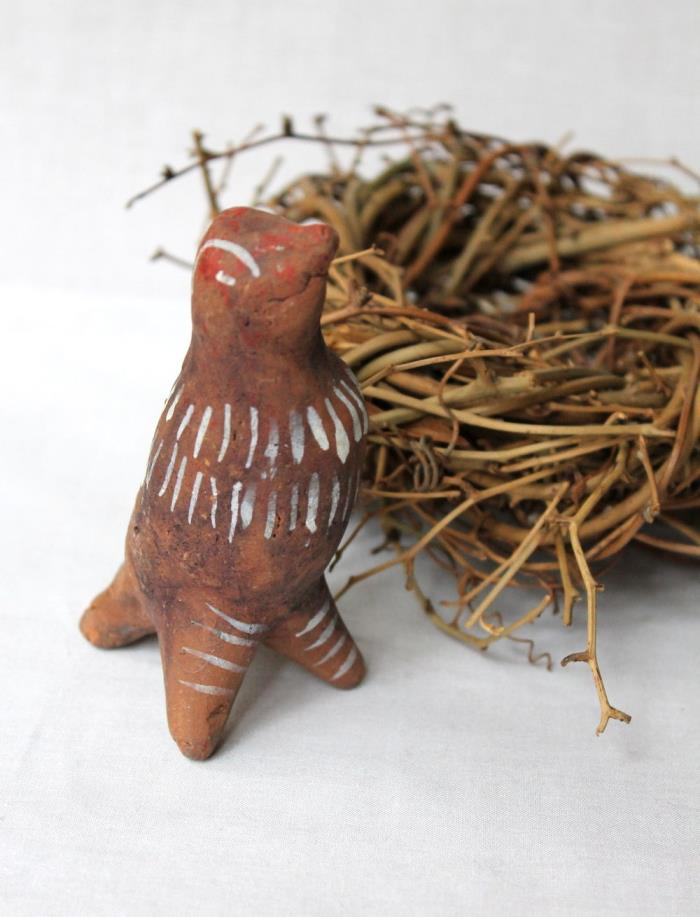 Hand Painted Mexican Primitive Folk Art Red Clay Bird Whistle Figurine Nest