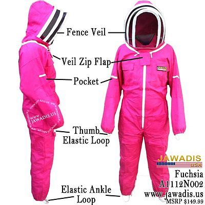 XS Jawadis Women's Bee Suits Fuchsia Fence Veil Bee Keepers Beekeeping Bee Suit