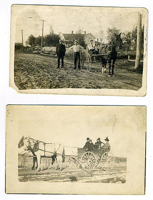 RPPC Lot of 2- Horses and Wagon, Horse and Buggy- Oppegards? Minnesota
