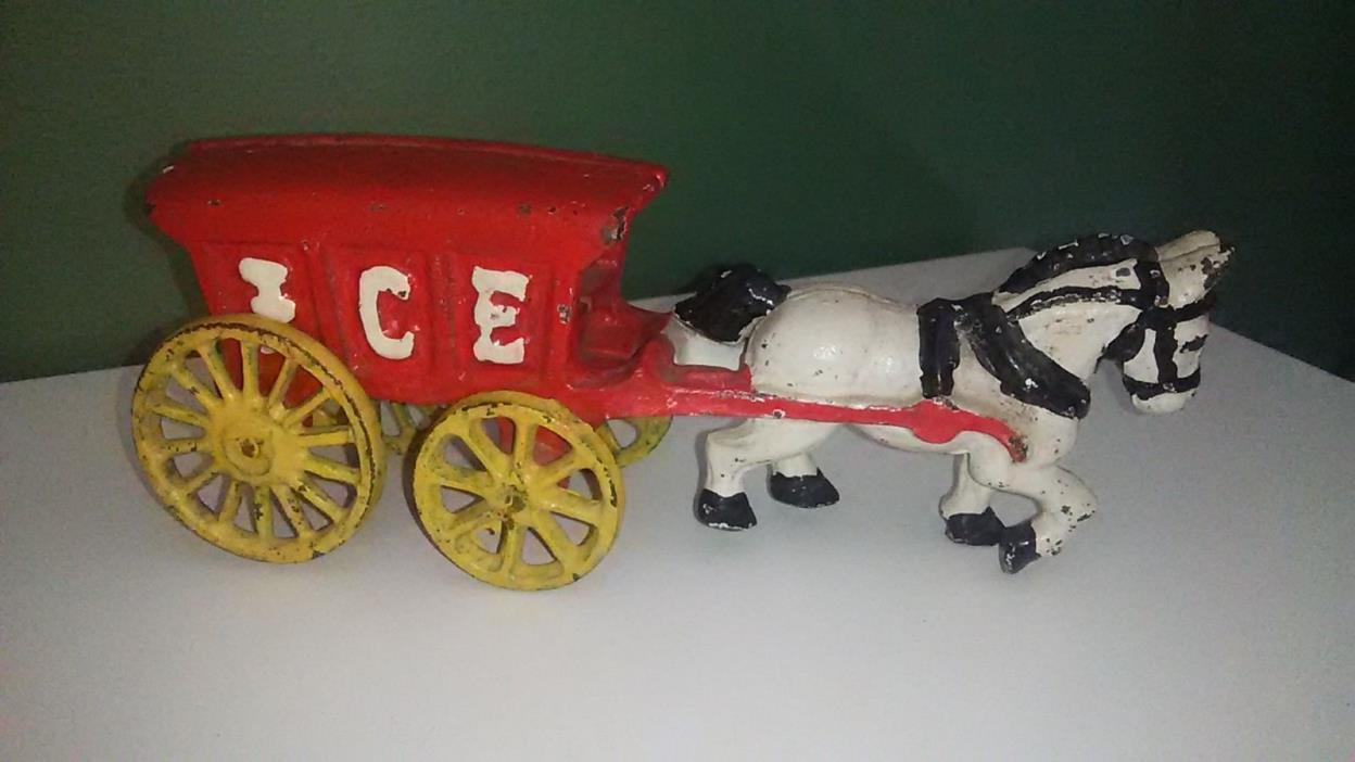 Antique Cast Iron Horse Drawn Ice Wagon