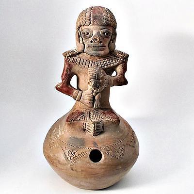 Reproduction Pre-Columbian Pottery Effigy Figural Stirrup Spout Vessel