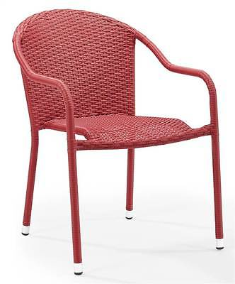 Outdoor Wicker Chair in Red - Set of 2 [ID 3515932]