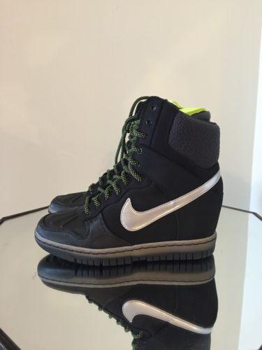 Nike Women Dunk Sky Hi Sneakerboot 2.0 Black/Metallic Silver (684954-001) Sz 8