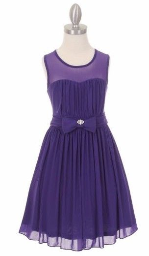 New Girls Sweetheart Purple Chiffon Dress Size 6 Wedding Easter Pageant Party