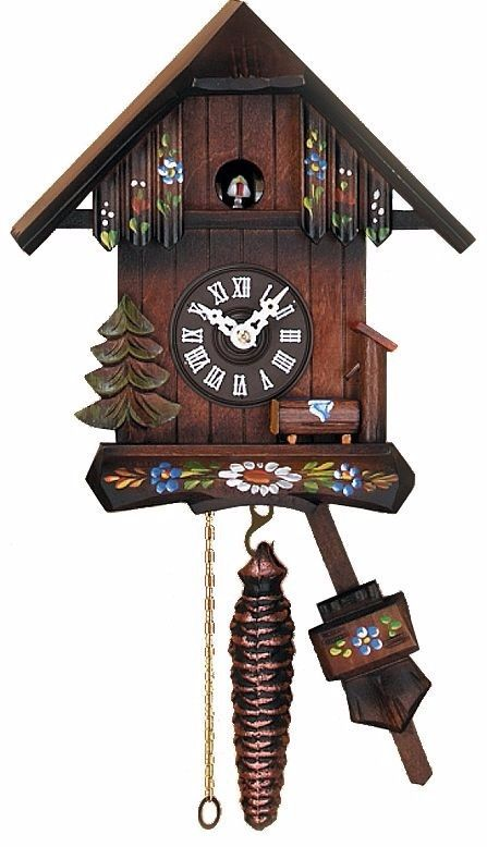 Cottage with Hand-Painted Flowers - Quarter Call Cuckoo Clock vintage wall clock