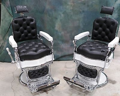 1920's ANTIQUE KOKEN BARBER CHAIR PAIR