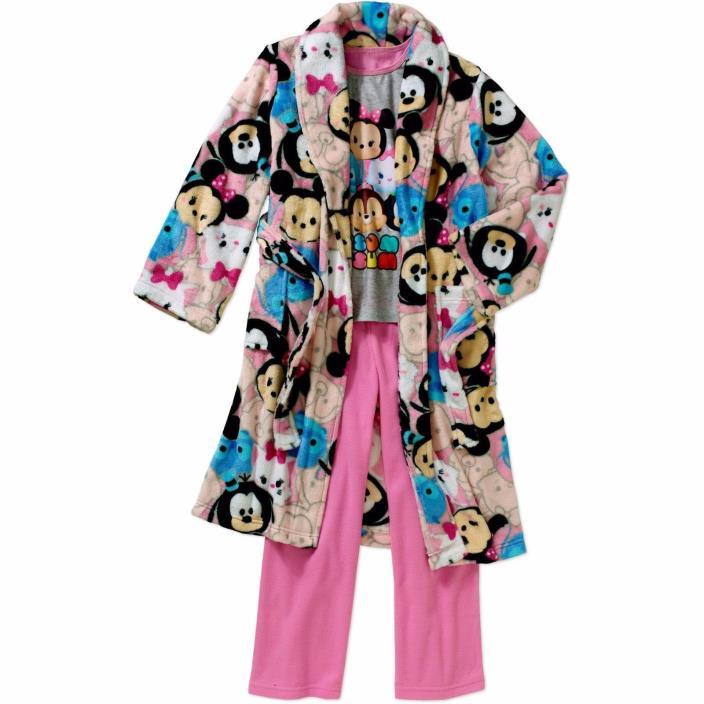 DISNEY TSUM TSUM 4/5 T Girls' 3 Pc. Licensed Robe & Pajama Set NWT