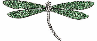 Tsavorite Diamond Gold Dragonfly Brooch