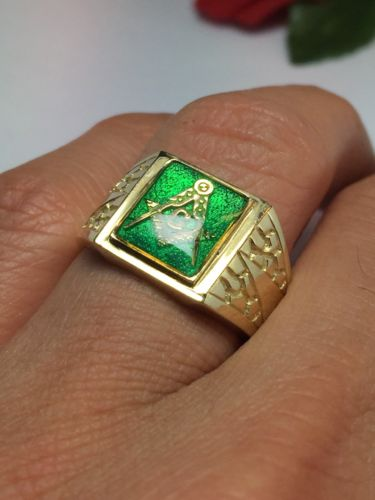 Real Solid Gold Masonic Rings, Men's Masonic Jewelry, Men's Nugget Ring