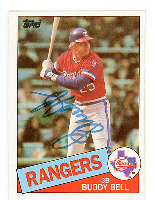 BUDDY BELL TOPPS 1985 #745 TEXAS RANGERS AUTOGRAPHED BASEBALL CARD