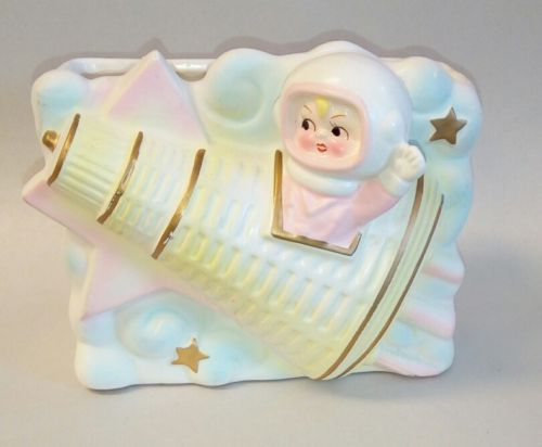 Rare 1960's BABY Astronaut in Mercury Rocket Planter by RUBENS Original