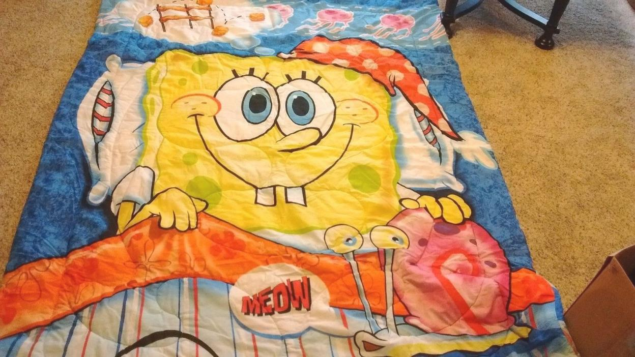 SPONGEBOB Squarepants REVERSIBLE Twin Size Comforter from 2004: FREE SHIPPING