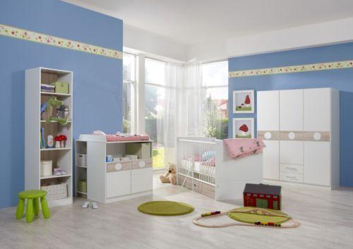 Babyzimmer-Set KIMBA 6tlg Komplett Bett Wickelkommode gr Schrank Regal Eiche-S.