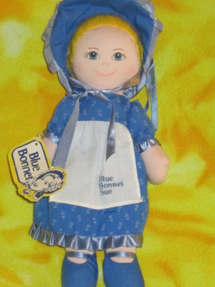 Blue Bonnet Sue vintage plush rag doll Tag Dakin 1986 Toy Advertising Mascot HTF