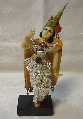 THAILAND SIAM DOLL FIGURINE IN TRADITIONAL COSTUME GOLD EMBROIDERED METALLIC