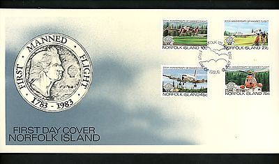 Postal History Norfolk Island FDC #310-313 Manned Flight airplane 1983
