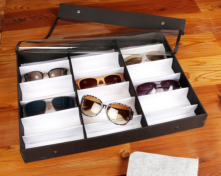Eyewear Display Box Sunglasses Glasses Holder Display Holds Up to 18 Sun