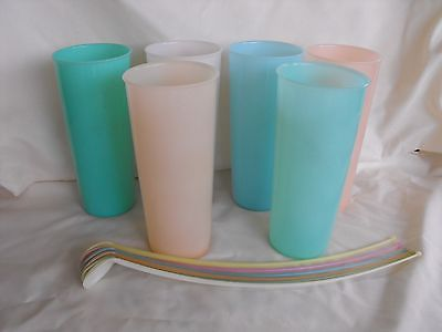 Set of 6 Vintage TUPPERWARE Pastel Iced TeaTumblers and  Iced Tea Spoons