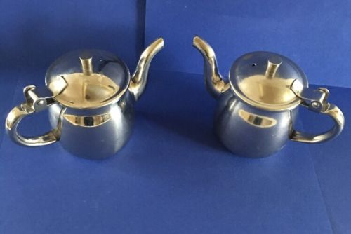 Stainless Steel 18-8 Japan Personal Tea Pot Creamer Pitcher Restaurant Set Of 2