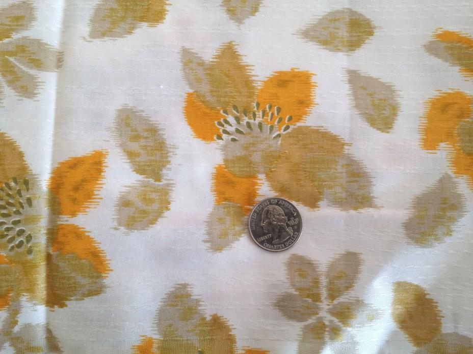 Vintage Fabric Silky Texture Yellow Beige Flowers 3+ YDS