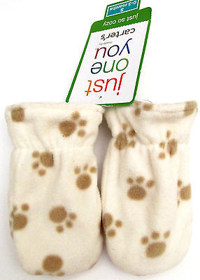 Carter's Just One You Baby Dog Cat Paws Fleece Mittens 0-3 Months Nwt