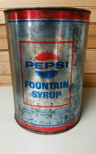 Vintage Pepsi Cola One Gallon Fountain Syrup Can Bottle Cap Advertising SIGN