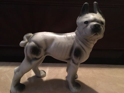 Vintage Cast Iron Doorstop Boston Terrier Dog French Bulldog