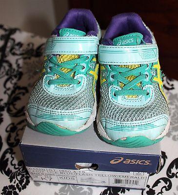 Toddler Girls Asics Athletic Shoes - Blue / Yellow Flash - 7M