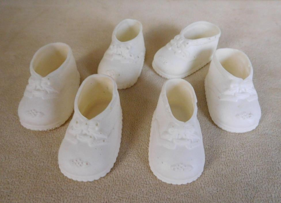 LOT 3 VINTAGE WHITE SOFT RUBBER DOLL SHOES SIZE 1 MARY JANE STYLE    #6