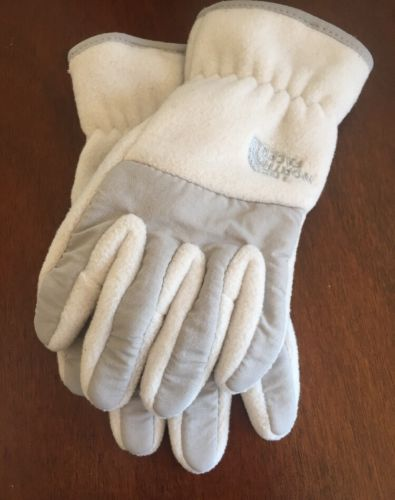 Girls Medium North Face White And Grey Winter Gloves