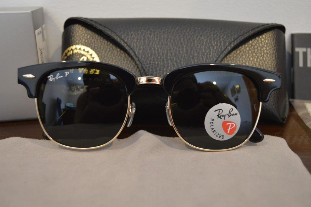 RAY BAN Clubmaster Classic Polarized Sunglasses 51mm RB3016 901/58