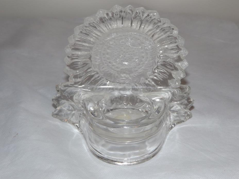 Sunflower Clear Glass Tea Light Votive Candle Holder by Partylite
