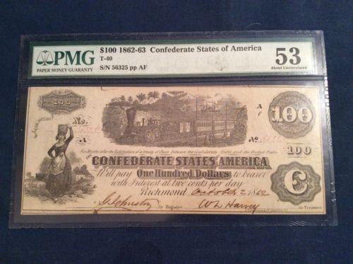 1862 Confederate 100 Dollar Bill