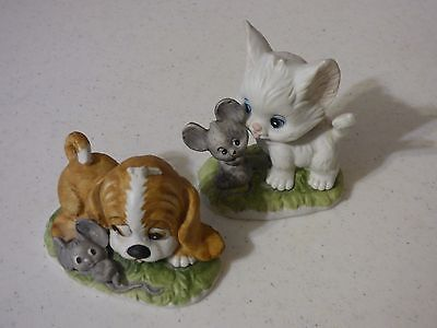 Lefton China Kitten and Puppy figurines with Mice
