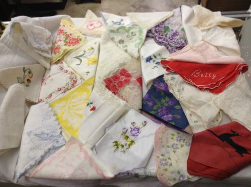 lot of 52 Vintage crochet Tatted lace hankies Hanky handkerchiefs