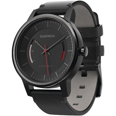 GARMIN 010-01597-12 vivomove(TM) Smart Watch (Leather Band; Black)
