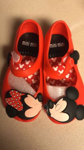 Mini Melissa Remakes Mickey Minnie Jelly Shoes Sandals Toddler size 6 Red