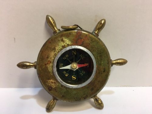 VINTAGE MINIATURE BRASS COMPASS SHIP WHEEL DESIGN ~ Japan ~