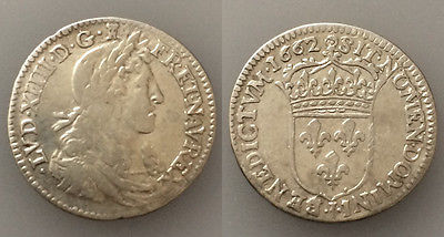 PC#33 Ancient France 1662 Louis Xiv Silver Coin  2.2g 20.5mm