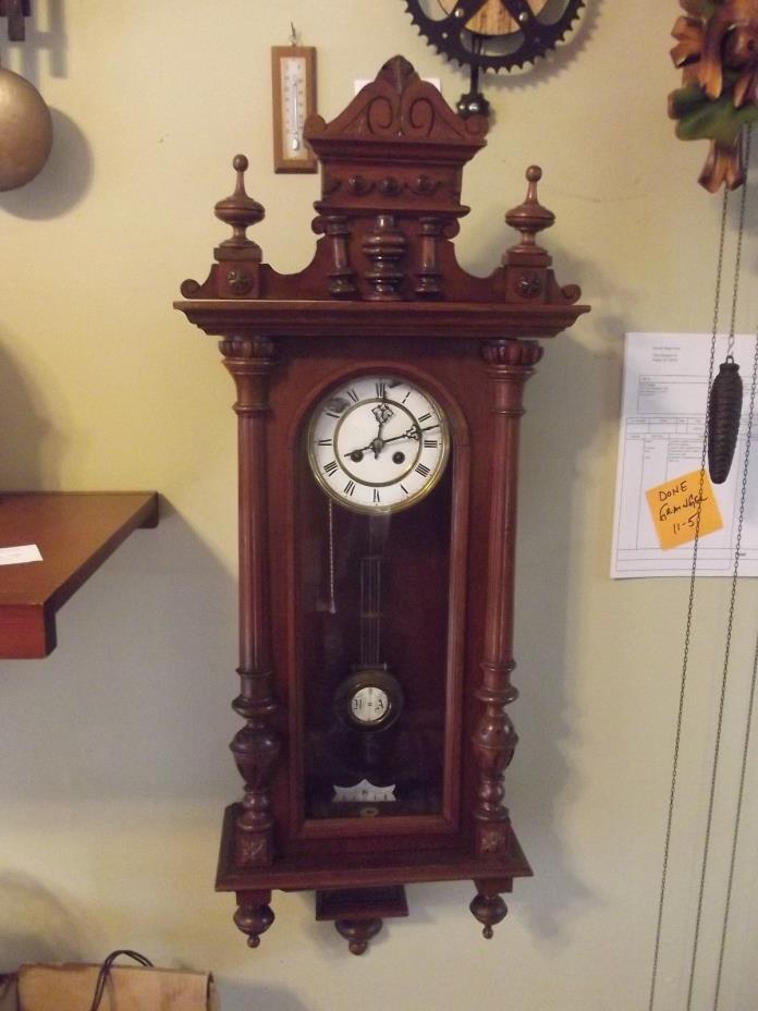 Antique Large German Vienna Wall Clock - Circa 1900