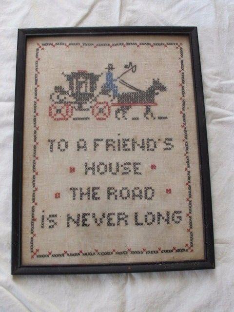 Vintage Cross Stitch Sampler Friends House Road Frame Wall Decor 8x10