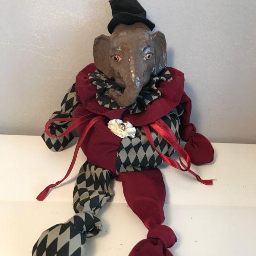 Katherine's Collection Wayne Kleski Elephant Harlequin Jester Doll NWT Vintage