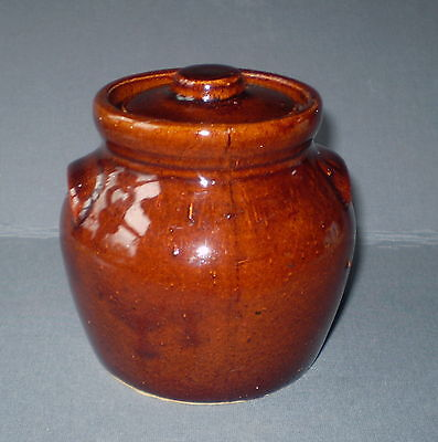 ROYCROFT SHOPS Brown JAR & LID Ceramic Aurora NY Arts 7 crafts